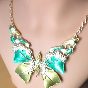 New Gold and Green Butterfly Necklace.